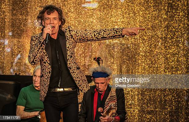 Charlie Watts Mick Jagger and Keith Richards of The Rolling Stones perform on stage at British Summer Time Festival at Hyde Park on July 13 2013 in...