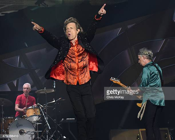 Charlie Watts Mick Jagger and Keith Richards of The Rolling Stones perform at Carter Finley Stadium on July 1 2015 in Raleigh North Carolina