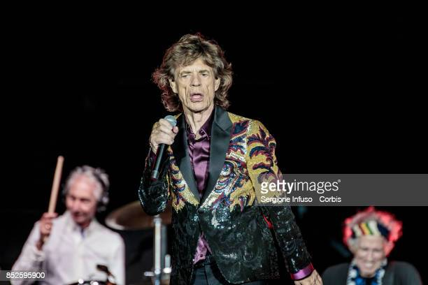 Charlie Watts Mick Jagger and Keith Richards of The Rolling Stones perform on stage during Lucca Summer Festival 2017 on September 23 2017 in Lucca...