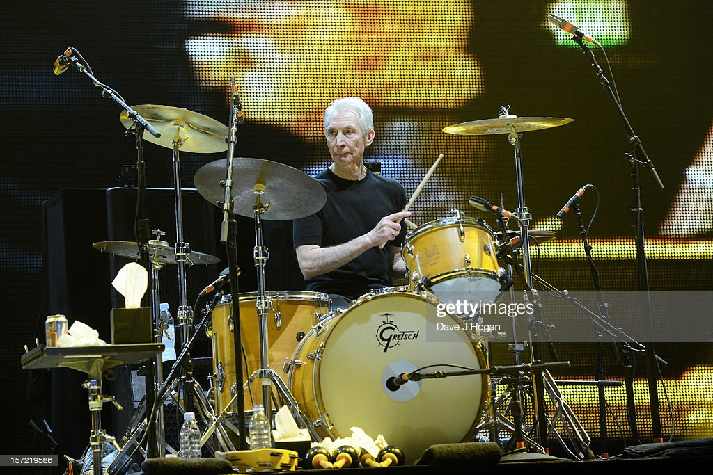 <a gi-track='captionPersonalityLinkClicked' href=/galleries/search?phrase=Charlie+Watts&family=editorial&specificpeople=213325 ng-click='$event.stopPropagation()'>Charlie Watts</a> of The Rolling Stones perfoms at The O2 Arena on November 29, 2012 in London, England.