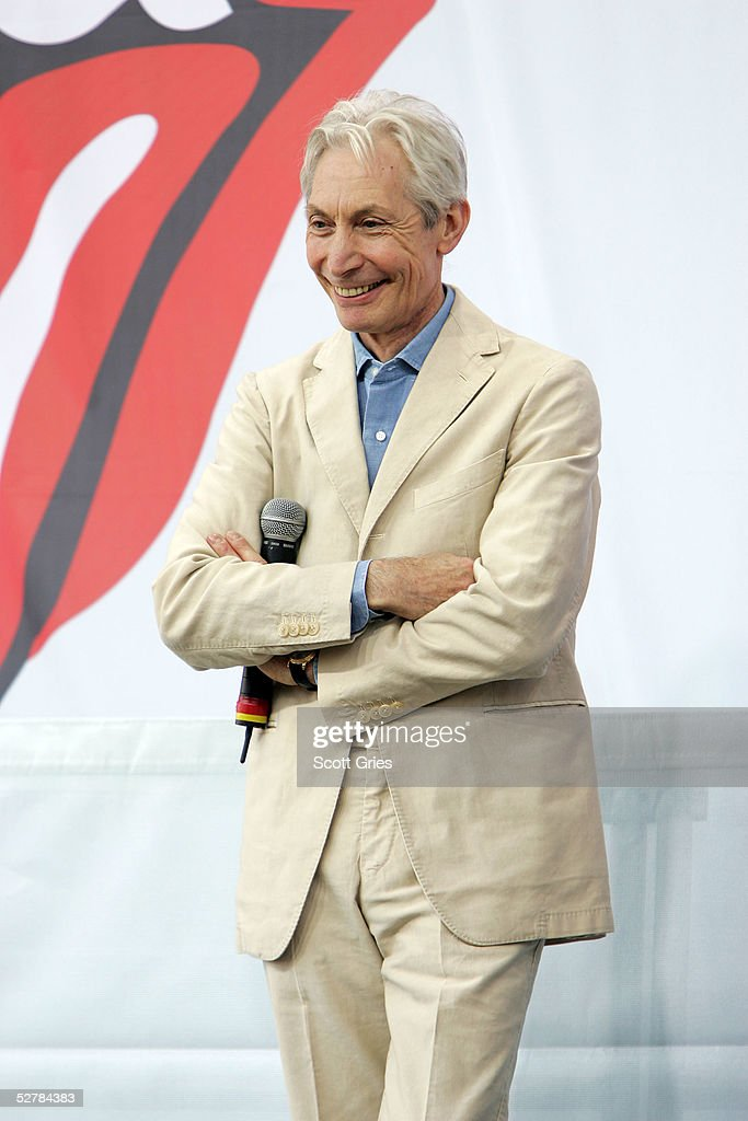 Charlie Watts of The Rolling Stones talks to reporters during a press conference to announce a world tour at the Julliard Music School May 10, 2005 in New York City.