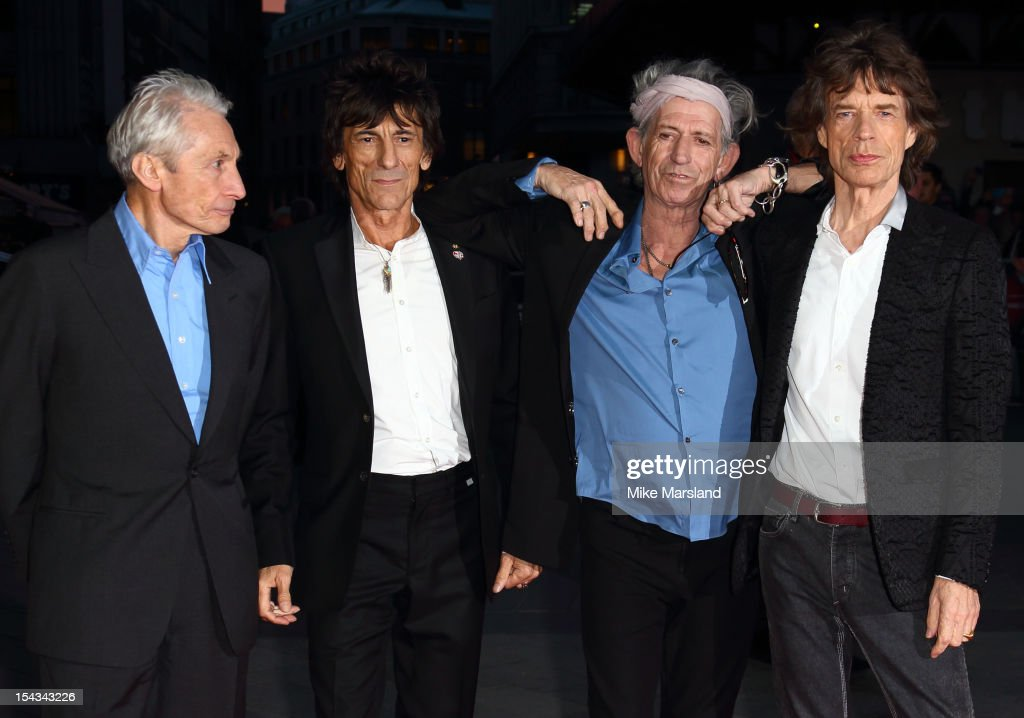 <a gi-track='captionPersonalityLinkClicked' href=/galleries/search?phrase=Charlie+Watts&family=editorial&specificpeople=213325 ng-click='$event.stopPropagation()'>Charlie Watts</a>, Ronnie Wood, <a gi-track='captionPersonalityLinkClicked' href=/galleries/search?phrase=Keith+Richards+-+Musician&family=editorial&specificpeople=202882 ng-click='$event.stopPropagation()'>Keith Richards</a> and <a gi-track='captionPersonalityLinkClicked' href=/galleries/search?phrase=Mick+Jagger&family=editorial&specificpeople=201786 ng-click='$event.stopPropagation()'>Mick Jagger</a> of The Rolling Stones attend the Premiere of 'Crossfire Hurricane' during the 56th BFI London Film Festival at Odeon Leicester Square on October 18, 2012 in London, England.