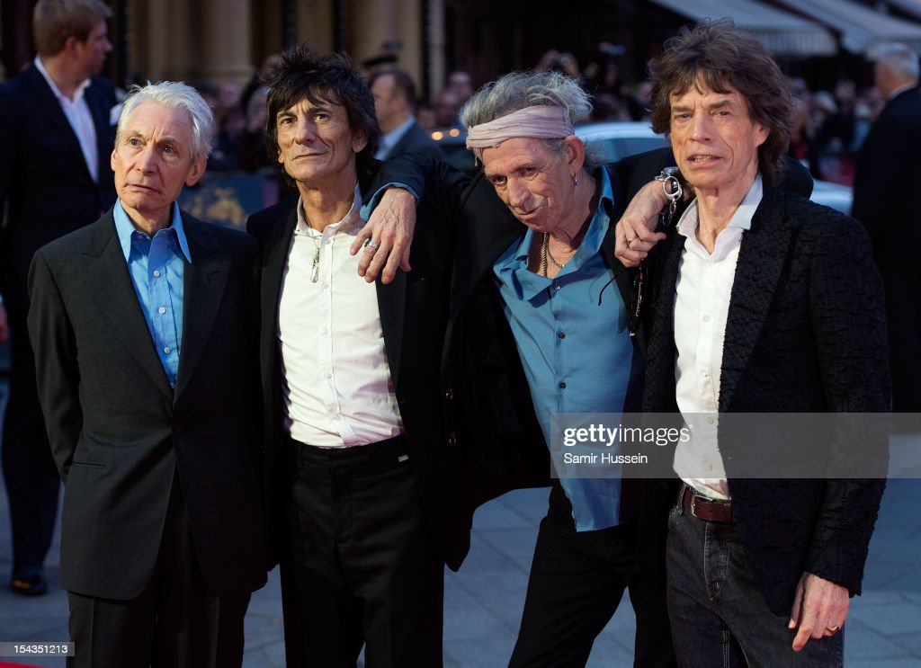 Charlie Watts, Ronnie Wood, Keith Richards and Mick Jagger of The Rolling Stones attend the Premiere of 'Crossfire Hurricane' during the 56th BFI London Film Festival at Odeon Leicester Square on October 18, 2012 in London, England.