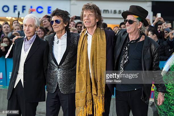 Charlie Watts Ronnie Wood Mick Jagger and Keith Richards arrive for the private view of 'The Rolling Stones Exhibitionism' Saatchi Gallery on April 4...