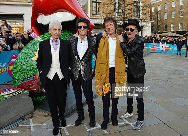Charlie Watts Ronnie Wood Mick Jagger and Keith Richards of The Rolling Stones attend a private view of 'The Rolling Stones Exhibitionism' at The...
