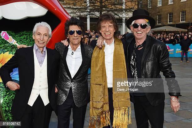 Charlie Watts Ronnie Wood Mick Jagger and Keith Richards of The Rolling Stones arrive for the private view of 'The Rolling Stones Exhibitionism' at...