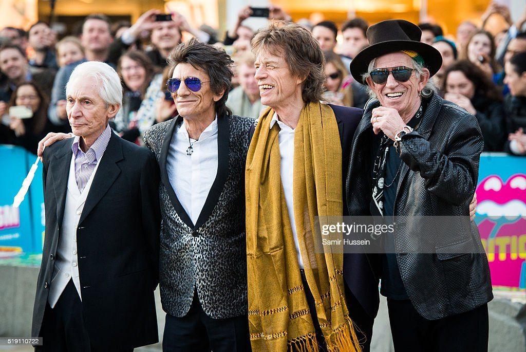 <a gi-track='captionPersonalityLinkClicked' href=/galleries/search?phrase=Charlie+Watts&family=editorial&specificpeople=213325 ng-click='$event.stopPropagation()'>Charlie Watts</a>, Ronnie Wood, <a gi-track='captionPersonalityLinkClicked' href=/galleries/search?phrase=Mick+Jagger&family=editorial&specificpeople=201786 ng-click='$event.stopPropagation()'>Mick Jagger</a> and <a gi-track='captionPersonalityLinkClicked' href=/galleries/search?phrase=Keith+Richards+-+Musician&family=editorial&specificpeople=202882 ng-click='$event.stopPropagation()'>Keith Richards</a> of the Rolling Stones arrive for the private view of 'The Rolling Stones: Exhibitionism' Saatchi Gallery on April 4, 2016 in London, England.