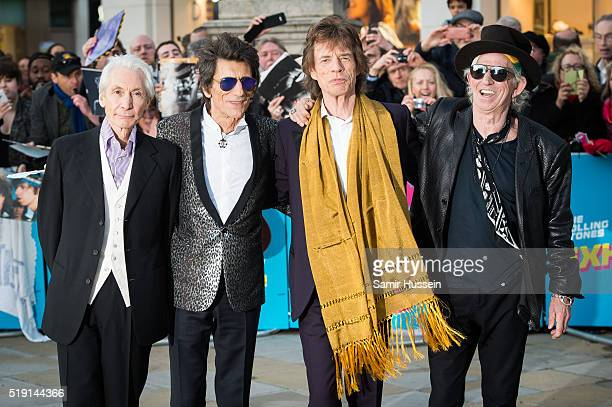 Charlie Watts Ronnie Wood Mick Jagger and Keith Richards of the Rolling Stones arrive for the private view of 'The Rolling Stones Exhibitionism'...