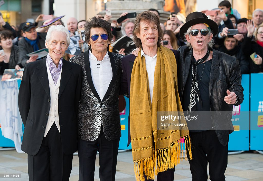 Charlie Watts, Ronnie Wood, Mick Jagger and Keith Richards of the Rolling Stones arrive for the private view of 'The Rolling Stones: Exhibitionism' Saatchi Gallery on April 4, 2016 in London, England.