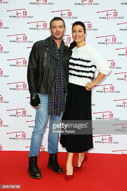 Charlie Weber and Bellamy Young attend the 'Shondaland' red carpet during the Roma Fiction Fest 2016 at The Space Moderno on December 11 2016 in Rome...