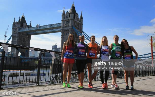 Charlie Webster Amy Willerton Laura Wright Amy Guy Anna Watkins and Lucy Siegle during the celebrities photocall at Tower Bridge London