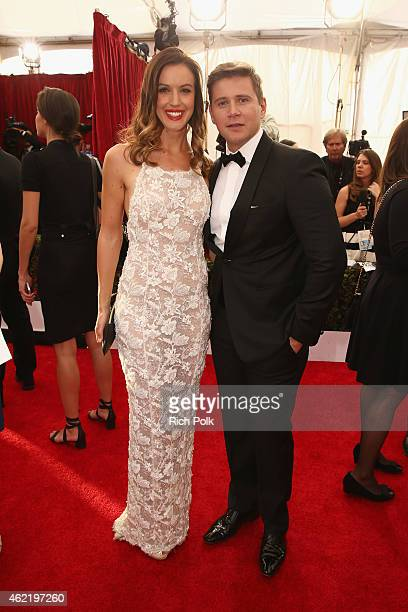 Charlie Webster and actor Allen Leech attend TNT's 21st Annual Screen Actors Guild Awards at The Shrine Auditorium on January 25 2015 in Los Angeles...