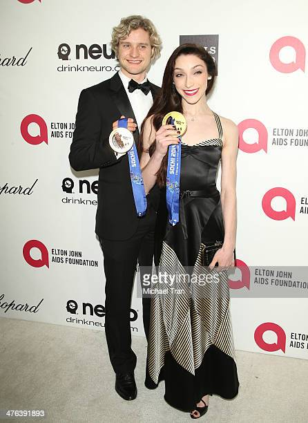 Charlie White and Meryl Davis arrive at the 22nd Annual Elton John AIDS Foundation's Oscar viewing party held on March 2 2014 in West Hollywood...