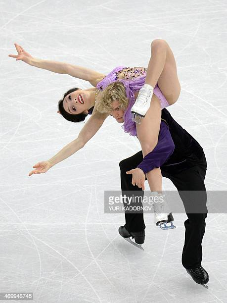 US Charlie White and US Meryl Davis perform in the Figure Skating Ice Dance Free Dance at the Iceberg Skating Palace during the Sochi Winter Olympics...