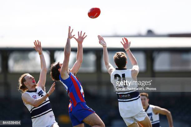 Charlie Whitehead of the Chargers takes a contested mark during the TAC Cup Final between Oakleigh and Northern Knights at Victoria Park on September...