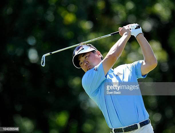 Charlie Wi hits from the second tee box during the final round of the BMW Championship at Cog Hill Golf Country Club on September 12 2010 in Lemont...