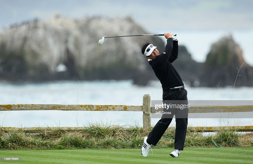 <a gi-track='captionPersonalityLinkClicked' href=/galleries/search?phrase=Charlie+Wi&family=editorial&specificpeople=678470 ng-click='$event.stopPropagation()'>Charlie Wi</a> of South Korea hits his tee shot on the 18th hole during the second round of the AT&T Pebble Beach National Pro-Am at Pebble Beach Golf Links on February 10, 2012 in Pebble Beach, California.
