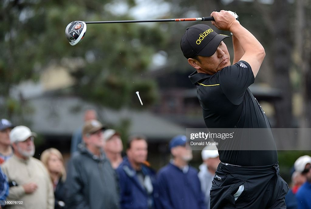 Charlie Wi of South Korea hits off the tee box during the first round at the Farmers Insurance Open at Torrey Pines Golf Course on January 25, 2013 in La Jolla, California.