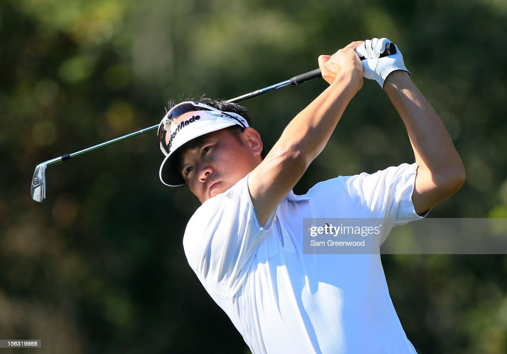 Charlie Wi of South Korea plays a shot during the first round of the Children's Miracle Network Hospitals Classic at the Disney Palm and Magnolia course on November 8, 2012 in Lake Buena Vista, Florida.