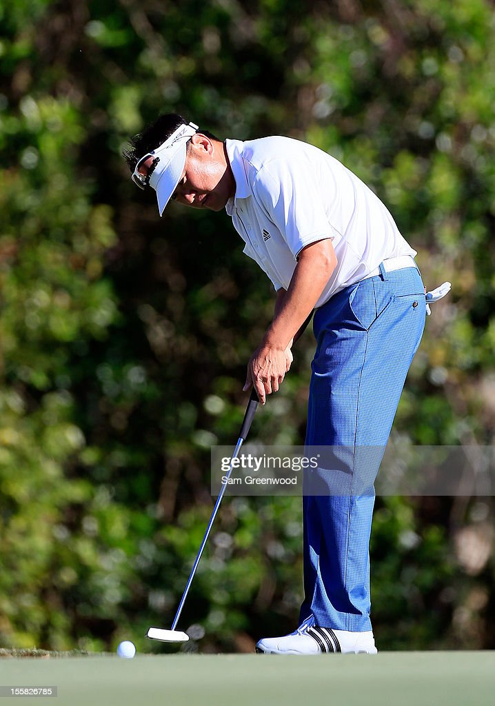Charlie Wi of South Korea plays a shot on the 11th hole during the first round of the Children's Miracle Network Hospitals Classic at the Disney Palm and Magnolia course on November 8, 2012 in Lake Buena Vista, Florida.