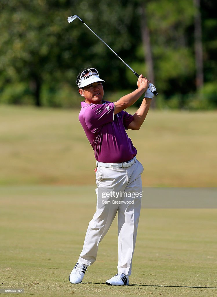 Charlie Wi of South Korea plays a shot on the 7th hole during the third round of the Children's Miracle Network Hospitals Classic at the Disney Magnolia course on November 10, 2012 in Lake Buena Vista, Florida.