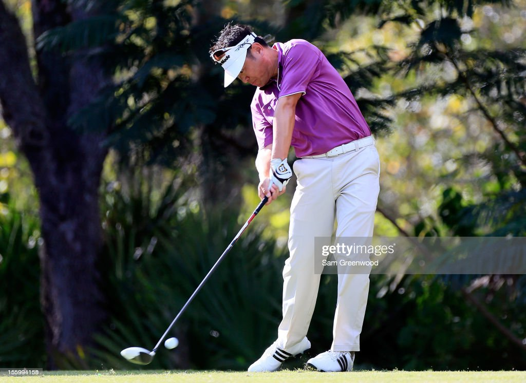 Charlie Wi of South Korea plays a shot on the16th hole during the third round of the Children's Miracle Network Hospitals Classic at the Disney Magnolia course on November 10, 2012 in Lake Buena Vista, Florida.
