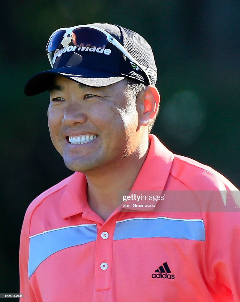 Charlie Wi of South Korea smiles during the second round of the Children's Miracle Network Hospitals Classic at the Disney Palm and Magnolia course on November 9, 2012 in Lake Buena Vista, Florida.