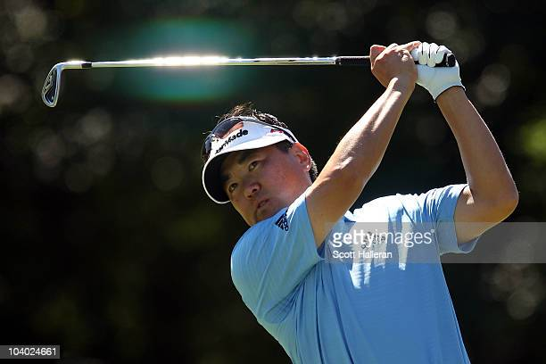 Charlie Wi of South Korea tees off on the second hole during the final round of the BMW Championship at Cog Hill Golf Country Club on September 12...