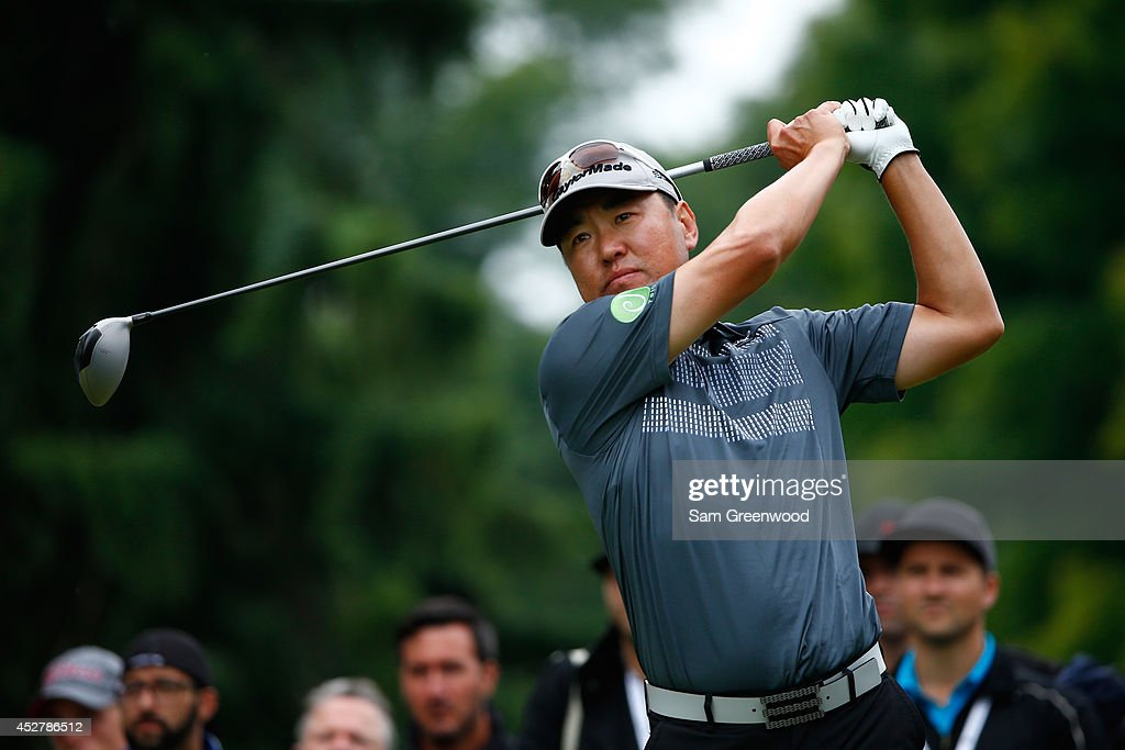 Charlie Wi of South Korea tees off on the third hole during the final round of the RBC Canadian Open at the Royal Montreal Golf Club on July 27 2014...