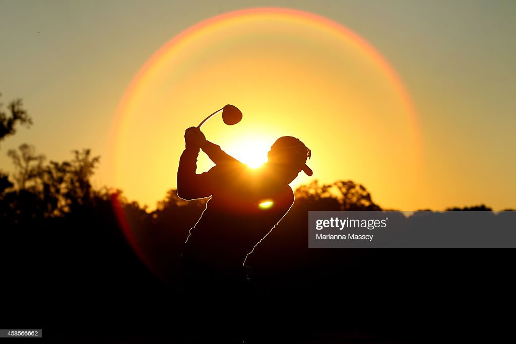 Charlie Wi of the United States warms up on the driving range prior to the start of round two at the Country Club of Jackson on November 7 2014 in...
