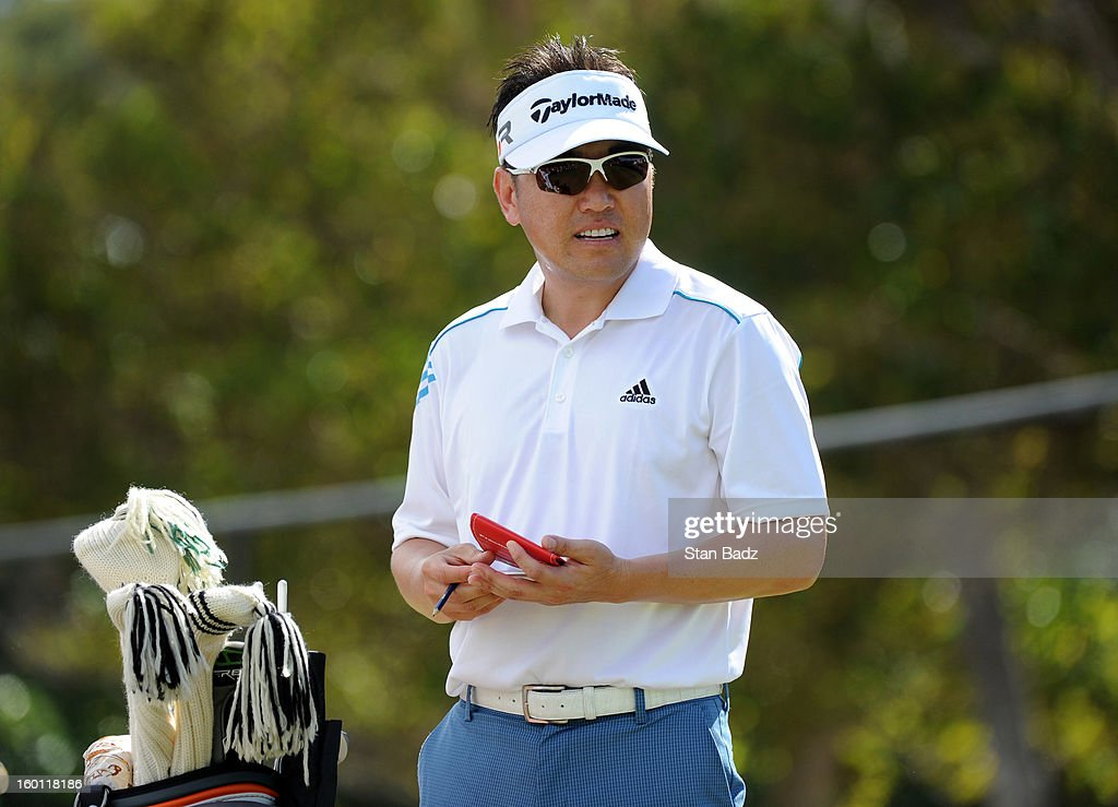 Charlie Wi waits to play first hole during the third round of the Sony Open in Hawaii at Waialae Country Club on January 12, 2013 in Honolulu, Hawaii.