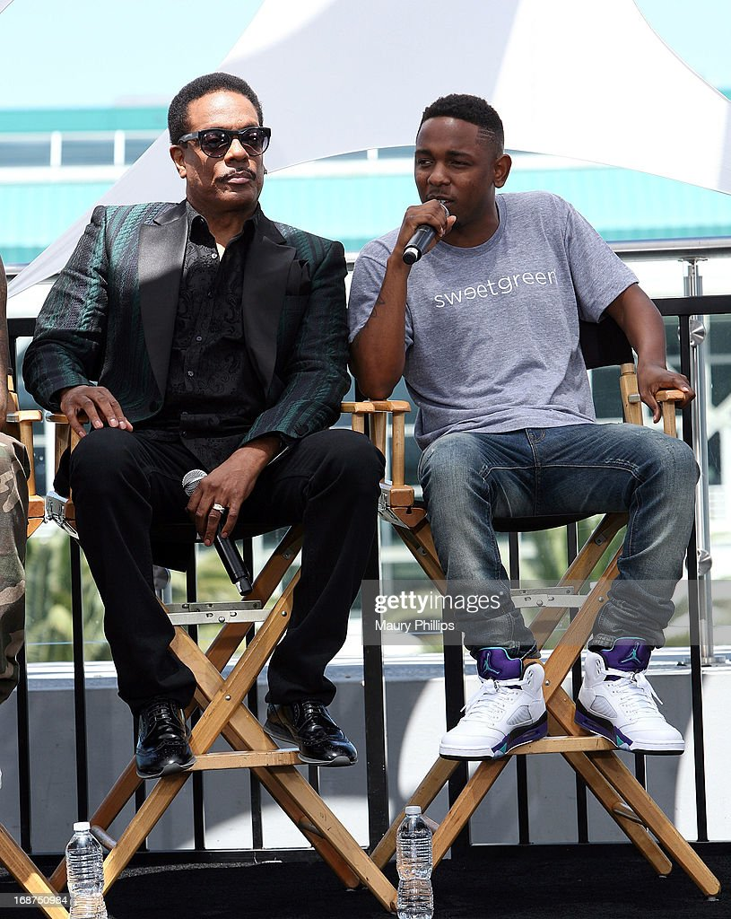 Charlie Wilson and Kendrick Lamar attend the BET Awards 2013 Press Conference at Icon Ultra Lounge on May 14, 2013 in Los Angeles, California.