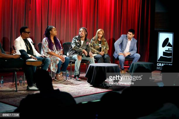 Charlie Wilson Lalah Hathaway Vic Mensa Shanti Das and Dr Reef Karim attend the Health in Hip Hop panel at the GRAMMY Museum on June 20 2017 in Los...