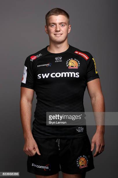 Charlie Wright of Exeter Chiefs poses for a portrait during the Exeter Chiefs squad photo call for the 20172018 Aviva Premiership Rugby season on...