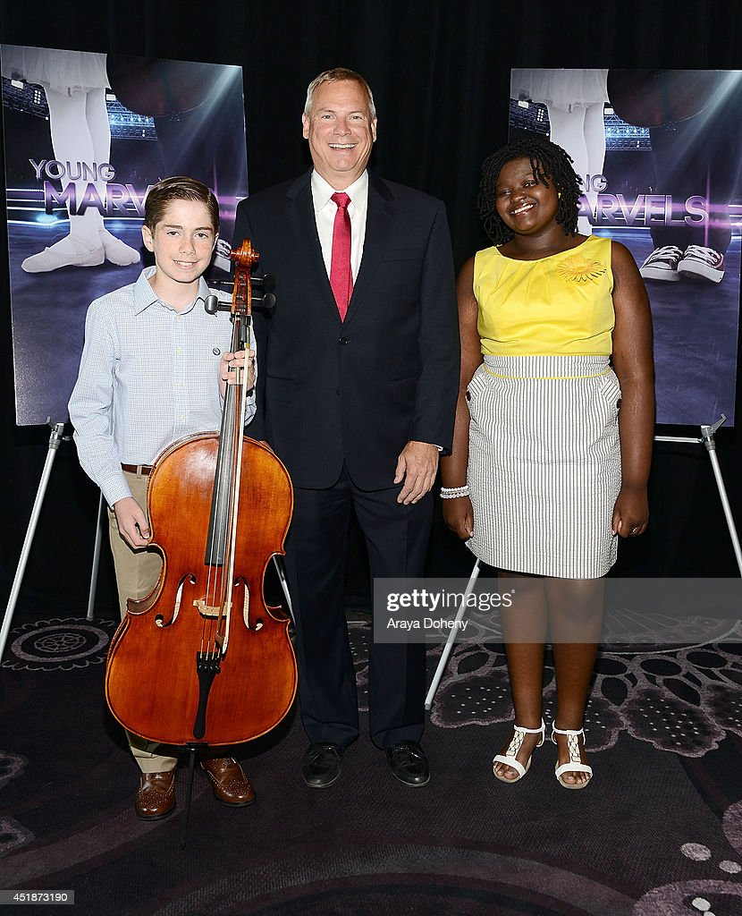Charlie Zandieh, Scott Woodward, Ovation, SVP of Programming and Production and Mae Ya Carter pose backstage for the Ovation TV's 'Young Marvels' panel of the 2014 Summer Television Critics Association at The Beverly Hilton Hotel on July 8, 2014 in Beverly Hills, California.