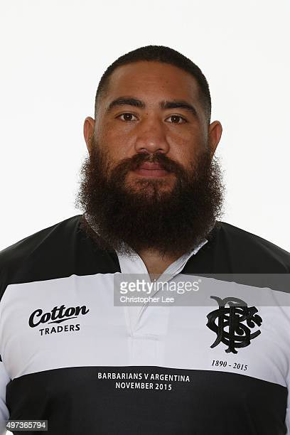 CharlieFaumuina of the Barbarians poses for a portrait during the Barbarians Squad photo call at The Grosvenor House Hotel on November 16 2015 in...