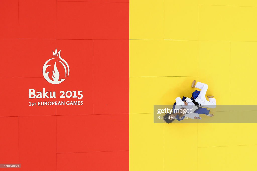 Charline van Snick of Belgium (white) and Ebru Sahin of Turkey (blue) compete in the Women's Judo -48kg Final during day thirteen of the Baku 2015 European Games at the Heydar Aliyev Arena on June 25, 2015 in Baku, Azerbaijan.