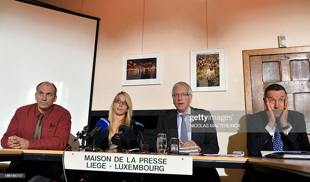 Charline Van Snick 's father Marc Van Snick, Belgian judoka Charline Van Snick, her lawyer Jean Luc Flagothier and KUL Professor Jan Tytgat attend a press conference to explain the first steps in her legal defense after she tested positive for doping, on October 29, 2013, in Liege. Van Snick tested positive for cocaine during the last World Judo Championships in Rio, Brazil. AFP PHOTO / BELGA / NICOLAS MAETERLINCK