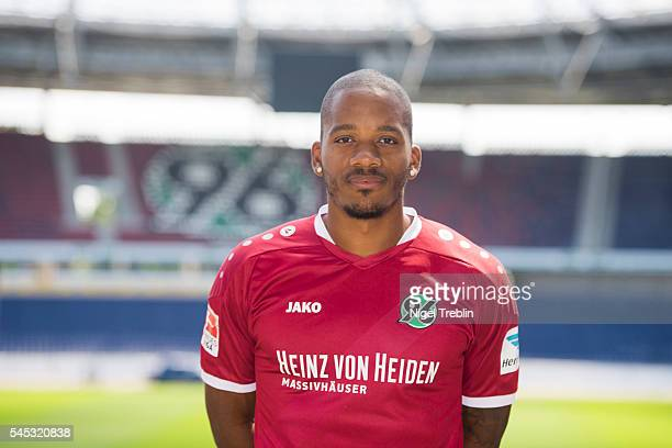 Charlison Benschop poses during the team presentation of Hannover 96 on July 7 2016 in Hanover Germany