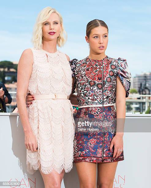Charlize Theron and Adele Exarchopoulos attend the 'The Last Face' Photocall at the annual 69th Cannes Film Festival at Palais des Festivals on May...