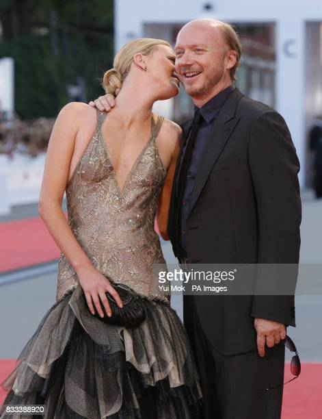 Charlize Theron and director Paul Haggis at the premiere of 'In the Valley Of Elah' at the Venice Film Festival in Italy