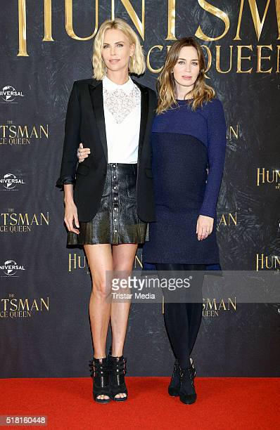 Charlize Theron and Emily Blunt attend 'The Huntsman The Ice Queen' Photo Call on March 30 2016 in Hamburg Germany