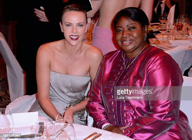 Charlize Theron and Fatou Bensouda during the Cinema For Peace Gala Ceremony at the 63rd Berlinale International Film Festival at the Waldorf Astoria...