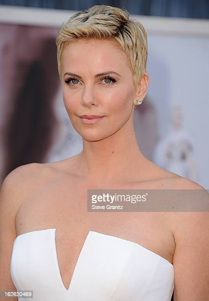 Charlize Theron arrives at the 85th Annual Academy Awards at Dolby Theatre on February 24 2013 in Hollywood California