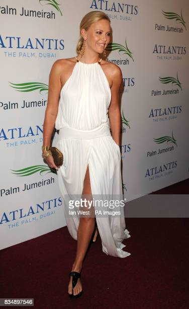 Charlize Theron arrives at The Atlantis Hotel launch party 'Birth Of An Icon The Celebration' at Palm Jumeirah in Dubai