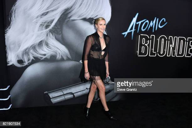 Charlize Theron arrives at the Premiere Of Focus Features' 'Atomic Blonde' at The Theatre at Ace Hotel on July 24 2017 in Los Angeles California
