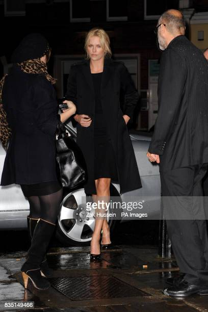 Charlize Theron arrives for a QA screening of her new film The Burning Plain at the Everyman Cinema in Hampstead north London