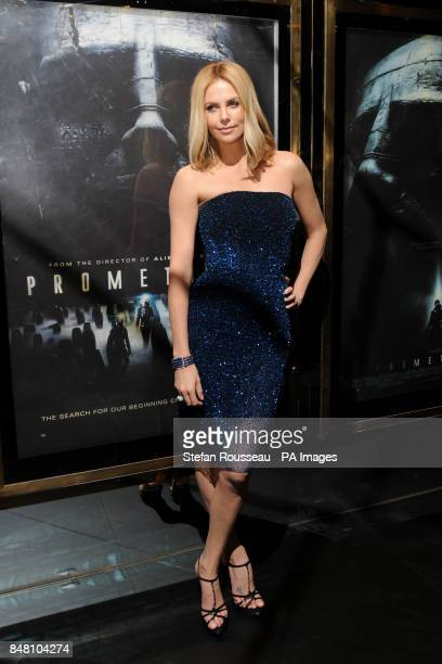 Charlize Theron arrives for the world premiere of the film Prometheus in Leicester Square London