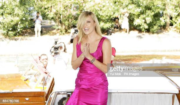 Charlize Theron arriving by boat for a photocall for the film 'The Burning Plain' at the Palazzo del Casino on Venice Lido Italy during the 65th...