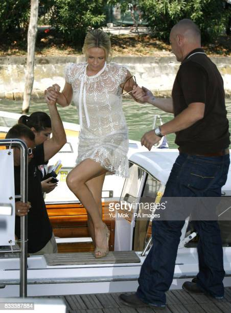 Charlize Theron arriving by boat for her film 'In the Valley Of Elah' at the Venice Film Festival in Italy